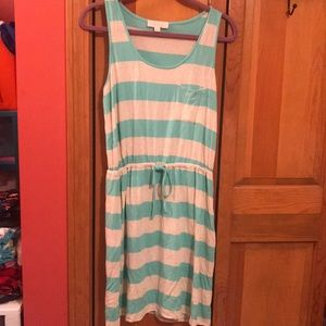 Turquoise and tan striped sundress